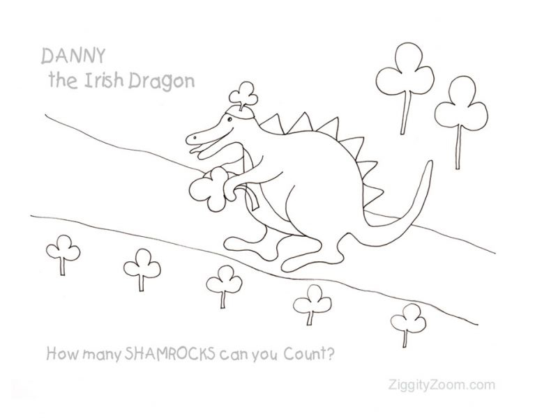 Danny the Irish Dragon Color and Count Worksheet