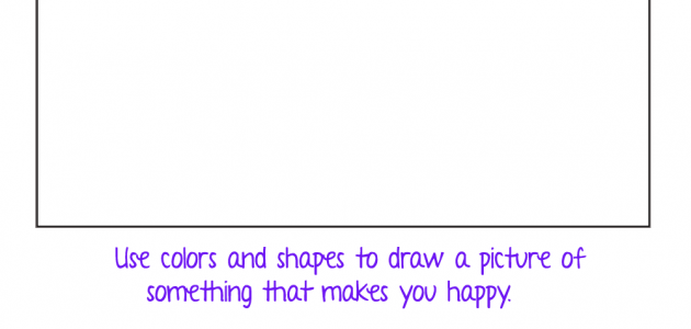 Happy Drawing Writing Prompt- Colors and Shapes- Preschool Worksheet