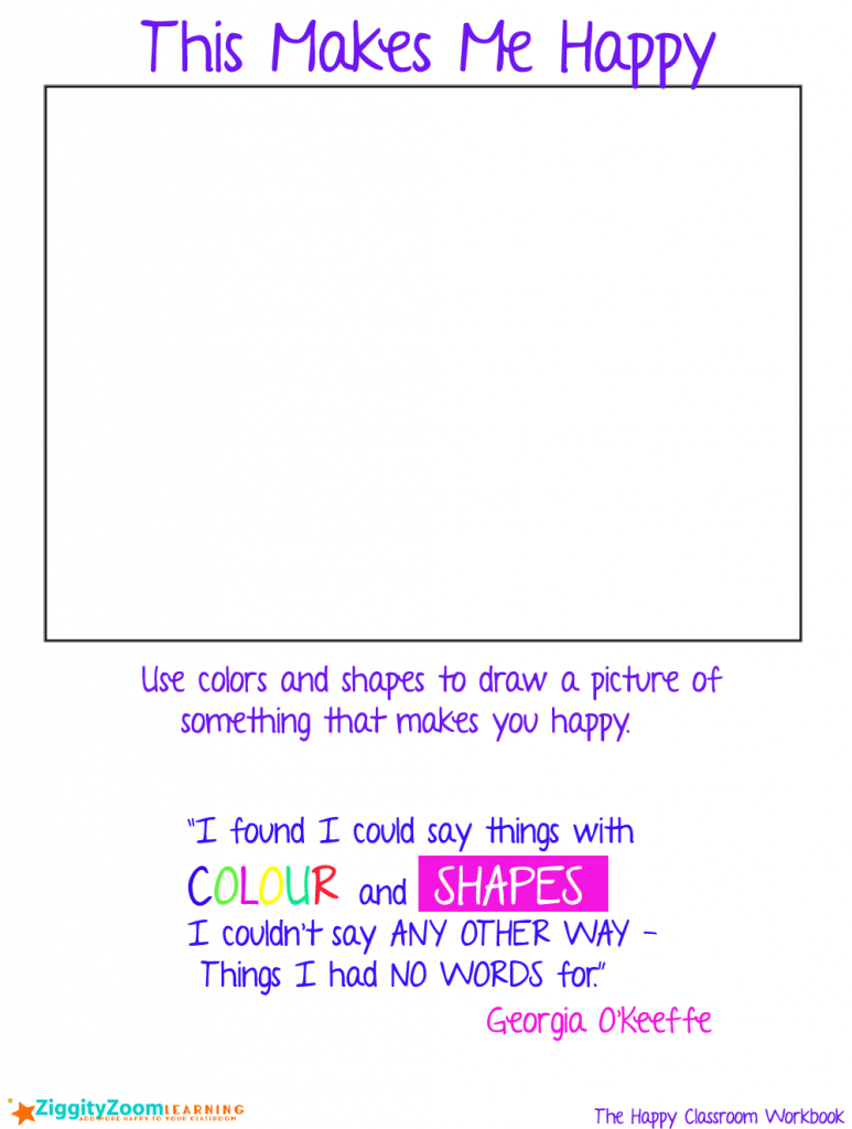 Happy Drawing Colors and Shapes Worksheet – Writing Prompt Worksheet