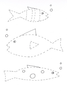 tracing & cutting fish worksheet- kindergarten