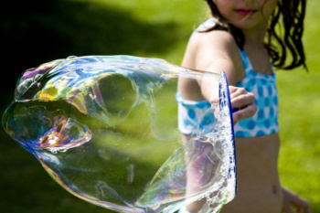 Blowing Giant Bubbles for a Fun Family Activity