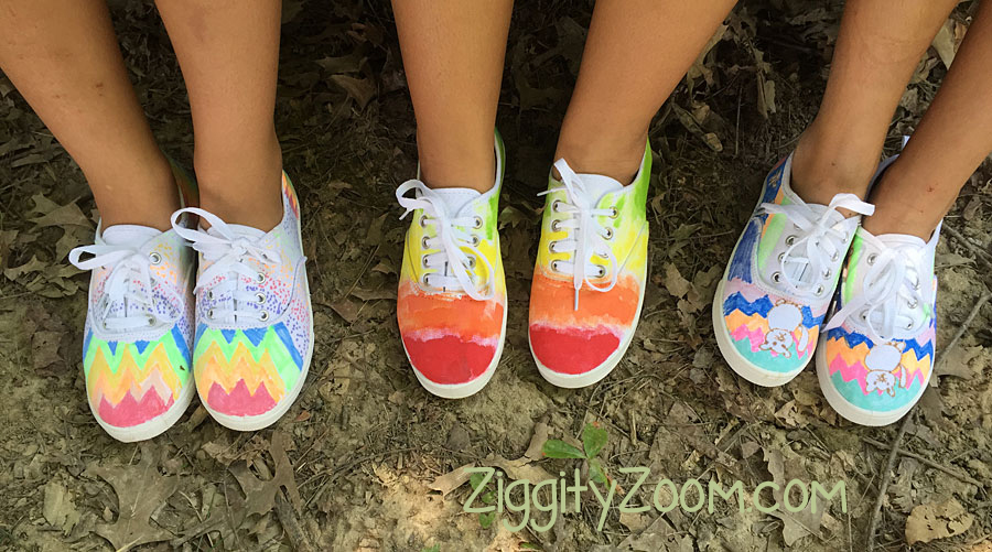 Painting canvas sneakers with markers