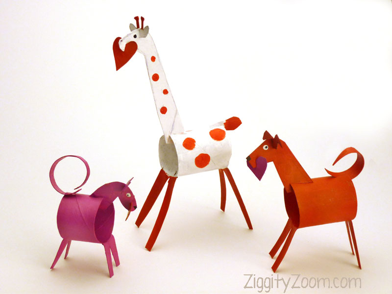DIY Recycled Kids Craft- Valentines Animals