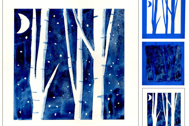Winter Kids Art Project using Tape and Paint