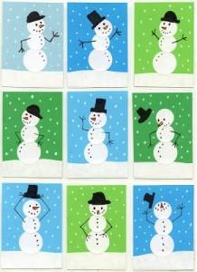 Snowman Sticker Art Project for Kids
