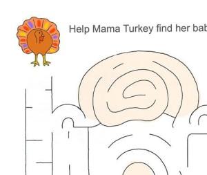 Thanksgiving Turkey Maze Worksheet