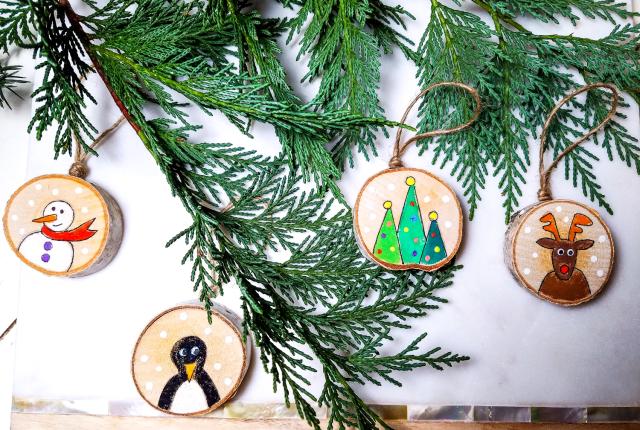 DIY Rustic Wood Ornaments
