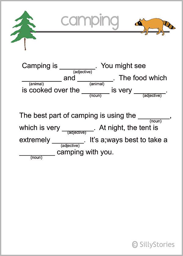 Camping theme madlib