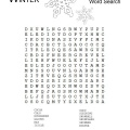 Winter Word Search Printable Worksheet