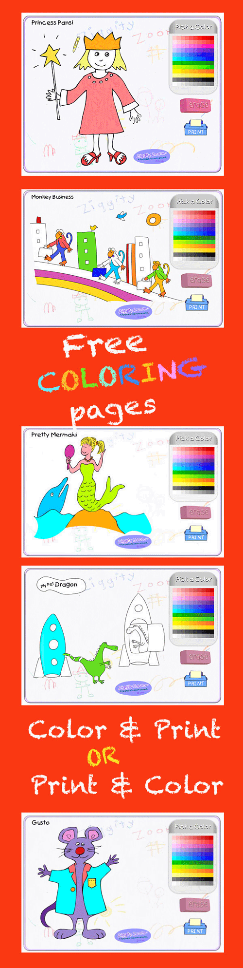 Coloring online or Print and color