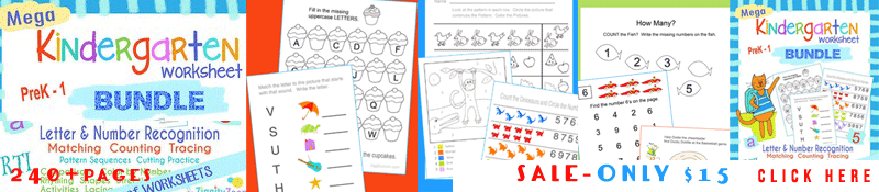 Kindergarten Letter and Math Worksheets Bundle