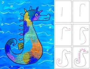 Mixed Media Seahorse Art Project for Kids