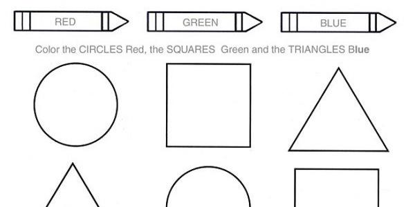 Printable Preschool Kindergarten Shapes & colors worksheet