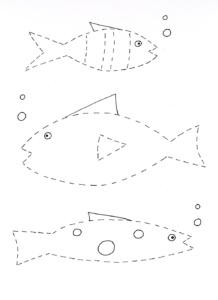 tracing & cutting fish worksheet- kindergarten