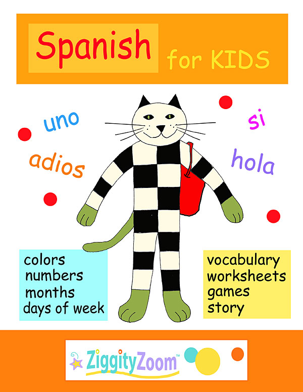 spanish for kids printables activities and vocabulary workbook. Black Bedroom Furniture Sets. Home Design Ideas