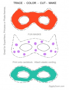 Trace Color and Cut Paper Mask Activity