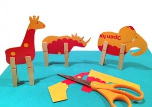 Clothespin Cardboard Animal Zoo