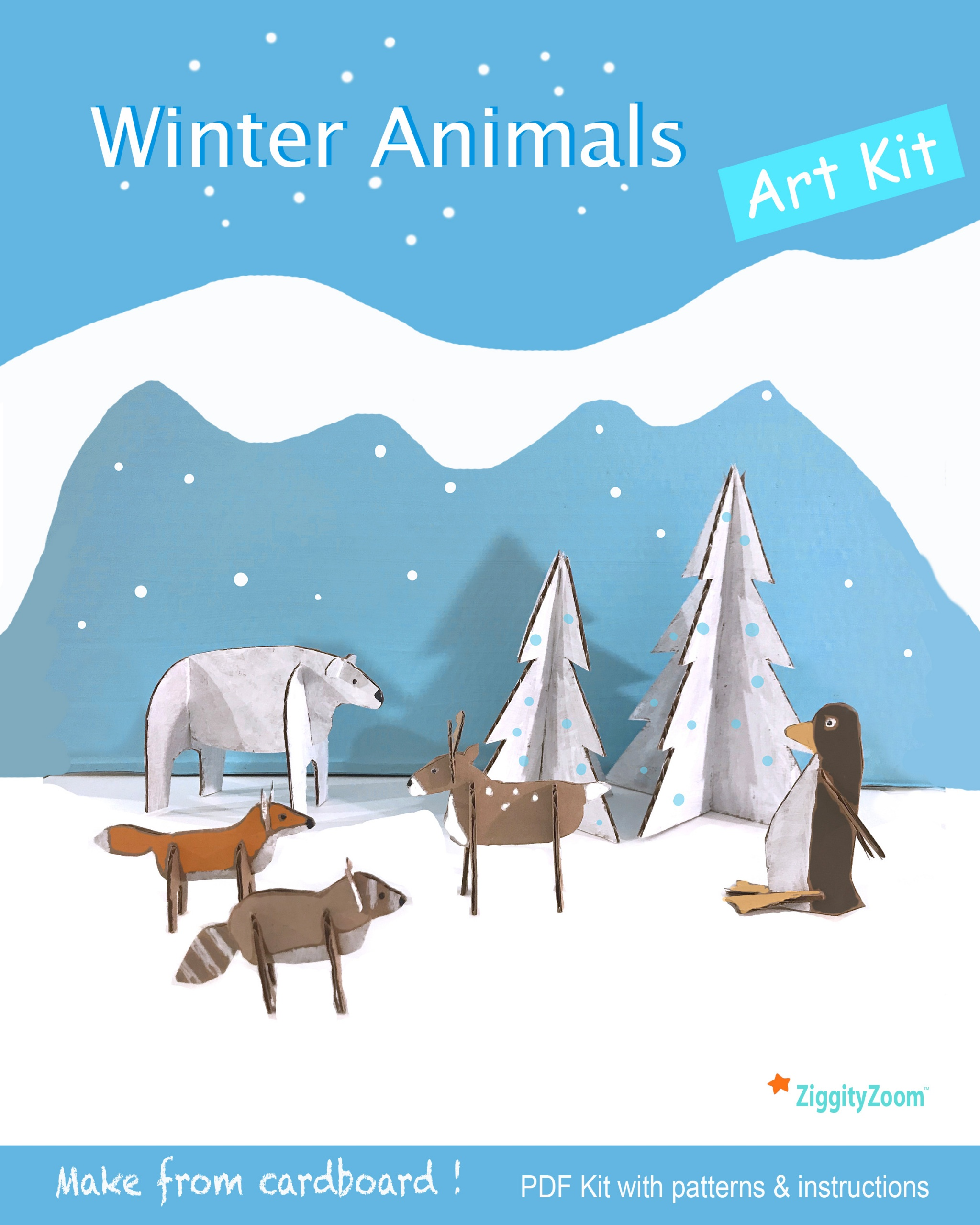 Winter Wonderland Animals PDF Art Kit