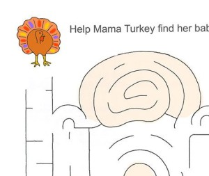 Thanksgiving Turkey Maze Worksheet