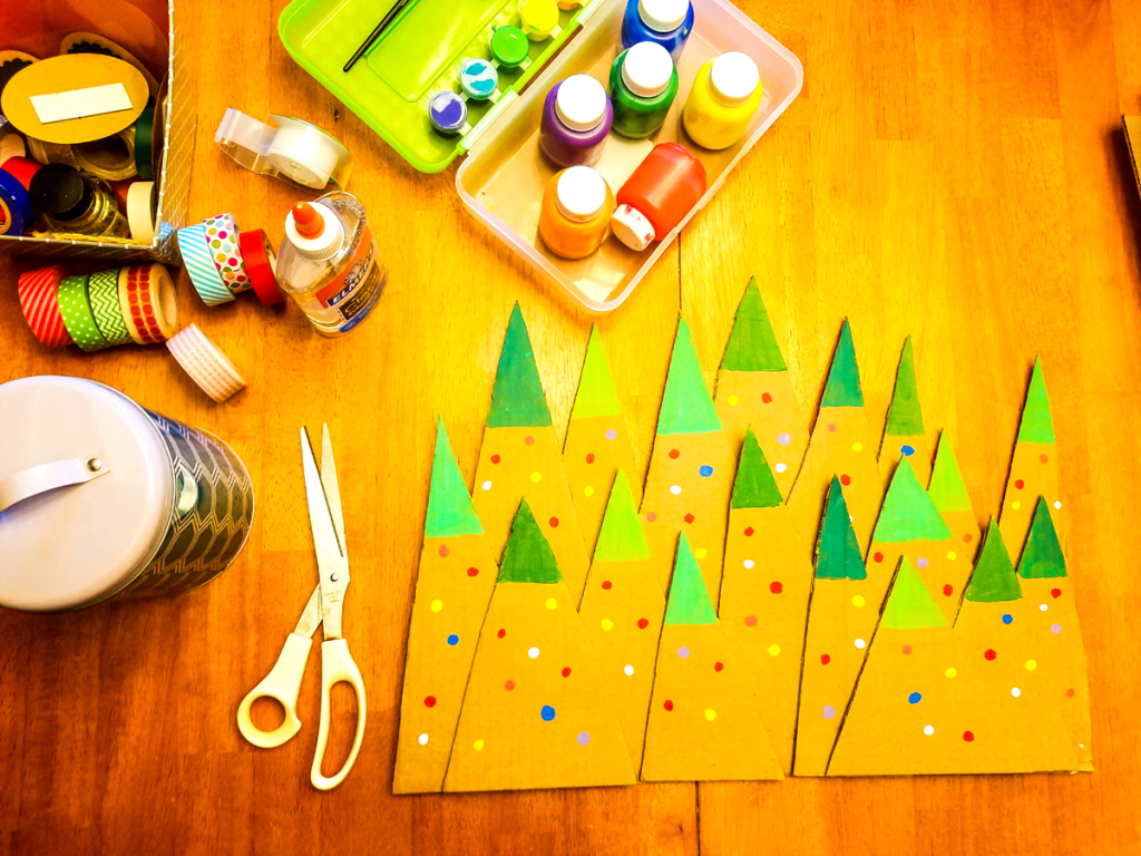 DIY Cardboard Recycled Christmas Trees Craft