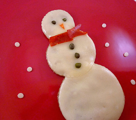 Snowman Personal Pizza Recipe for Kids