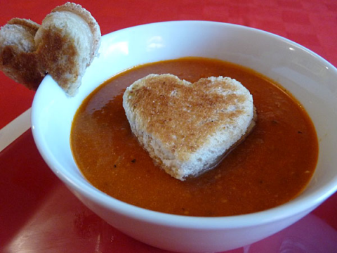 heart shaped recipes - Grilled Cheese Hearts and Tomato Soup Recipe