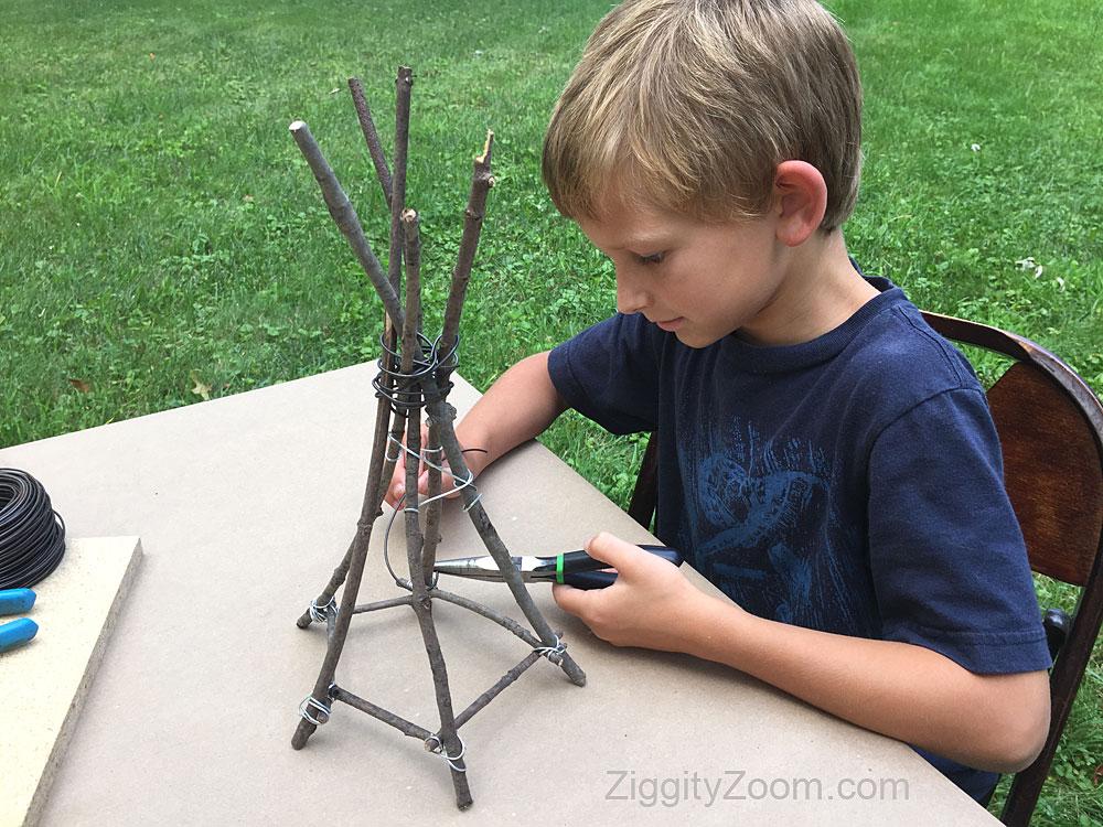 DIY stick teepee