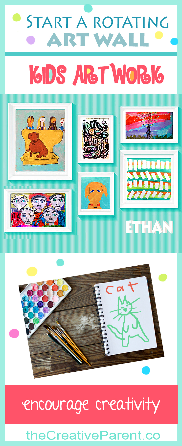Kids art wall display ideas