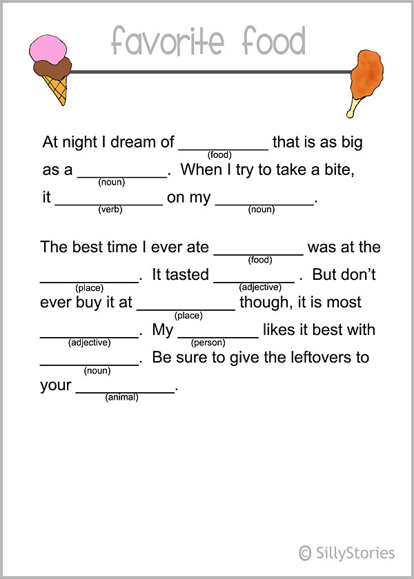 Printable madlib lunch notes