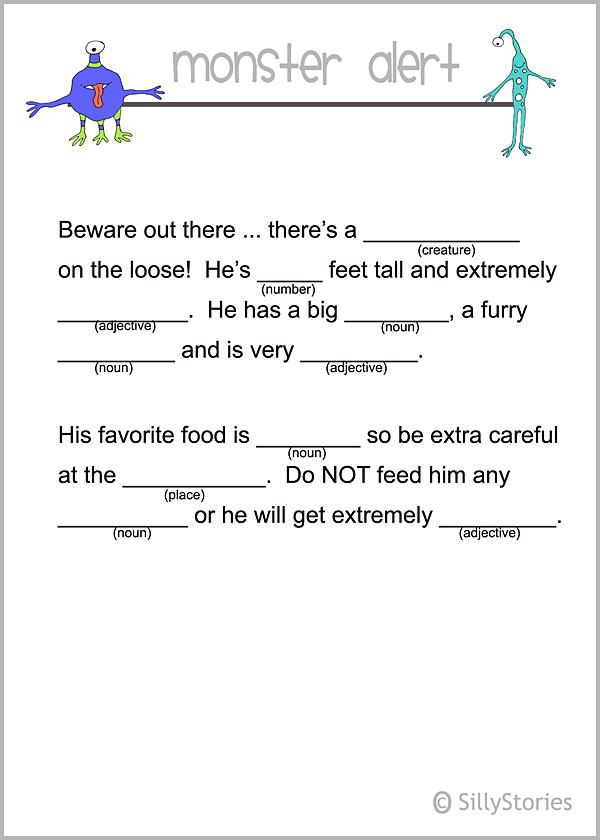 Monster Madlib printables