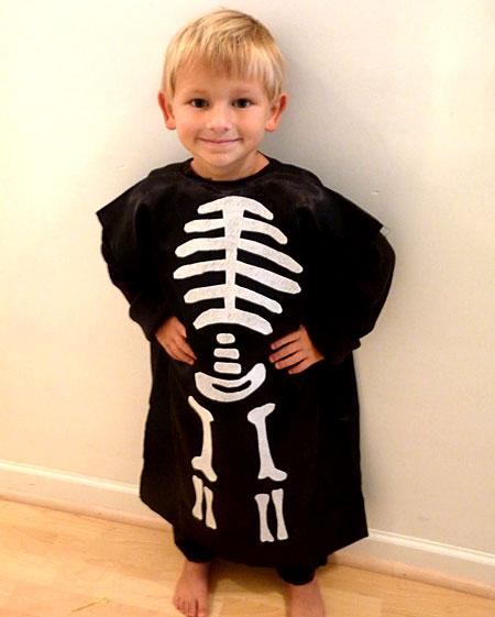 diy kids skeleton costume