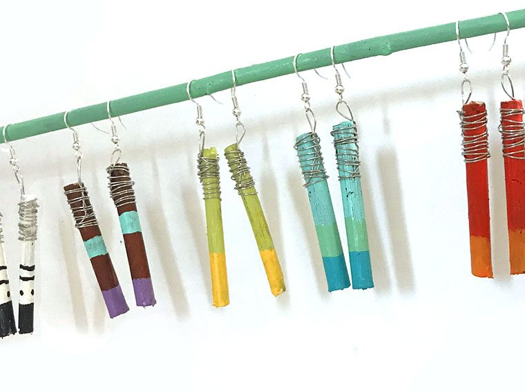 DIY Colorful Twig Earrings
